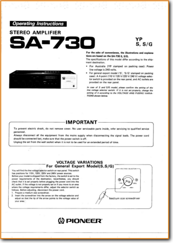 Pioneer SA-730 Solid State Amp Receiver - On Demand PDF Download | English