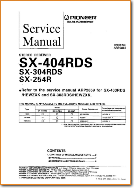 Pioneer SX-254-R Automotive Audio - On Demand PDF Download | English