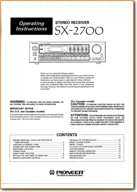 Pioneer SX-2700 Solid State Amp Receiver - On Demand PDF Download | English