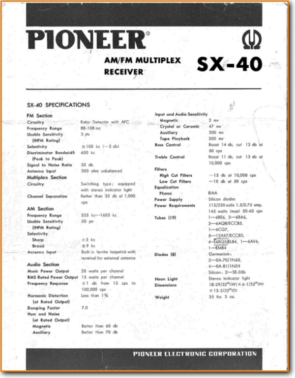 Pioneer SX-40 Tube Amplifier - On Demand PDF Download | English