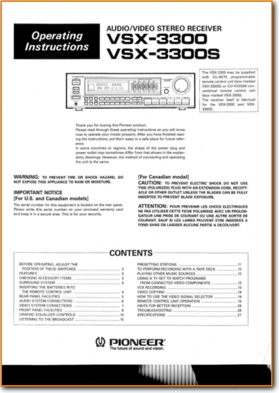 Pioneer VSX-3300 Solid State Amp Receiver - On Demand PDF Download | English