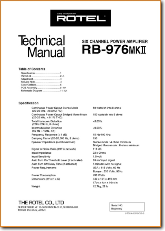 Rotel RB-976-MkII Solid State Amp Receiver - On Demand PDF Download |  English