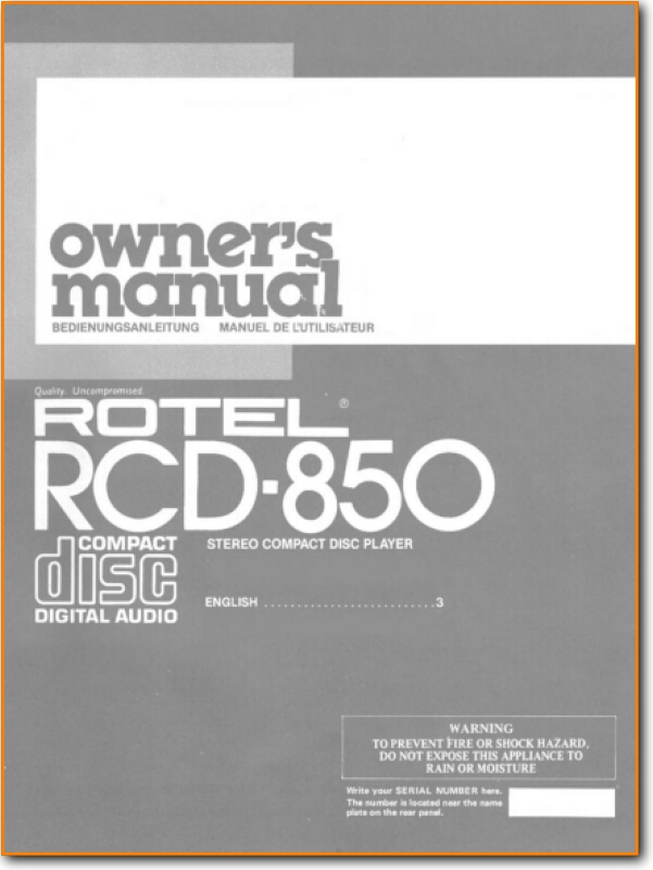 Rotel Rcd 850 Cd Player On Demand Pdf Download English