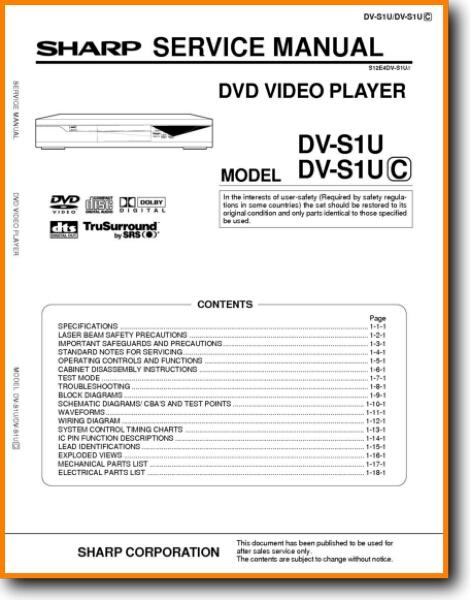 Sharp DVS 1 U DVD Player Main Technical Manual PDF Tech Help English