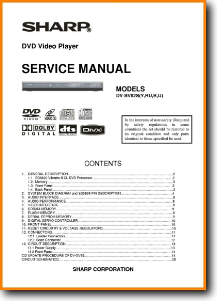 Sharp DVSV-92-S DVD Player Main Technical Manual - PDF & Tech Help*    English