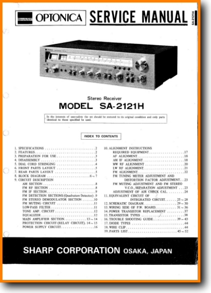 Sharp SA-2121-H Solid State Amp Receiver - On Demand PDF Download | English