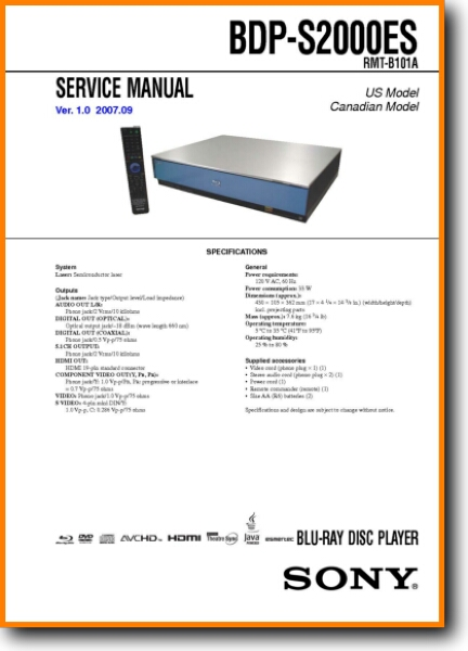 Sony BDPS-2000-ES Blu-Ray Player - On Demand PDF Download | English