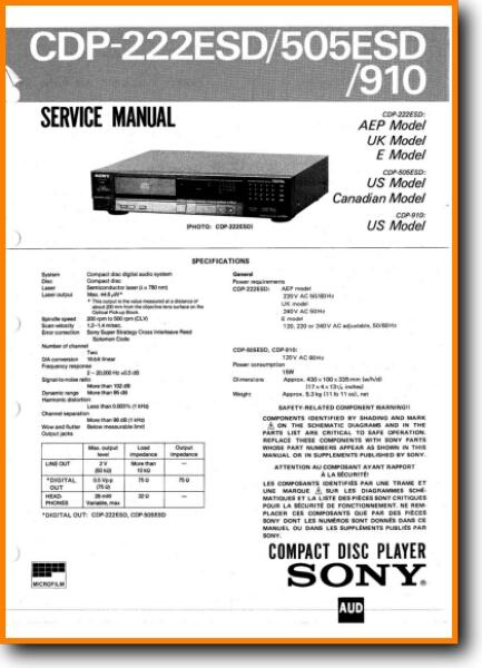Sony CDP-910 CD Player - On Demand PDF Download | English