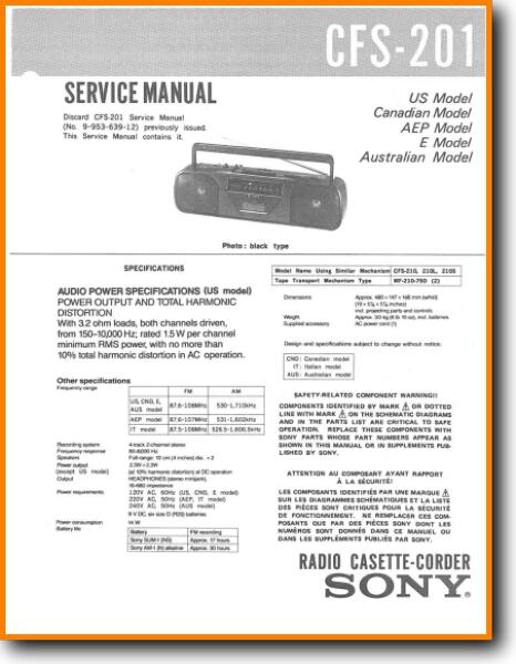 Sony CFS-201 Portable Stereo - On Demand PDF Download | English