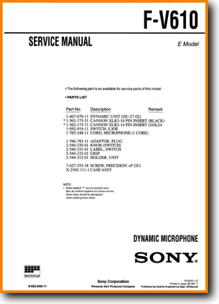 Sony FV-610 Cable - Accessory - Misc - On Demand PDF Download   English