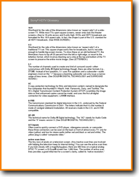 Sony HDTV Glossary LCD TV - On Demand PDF Download | English