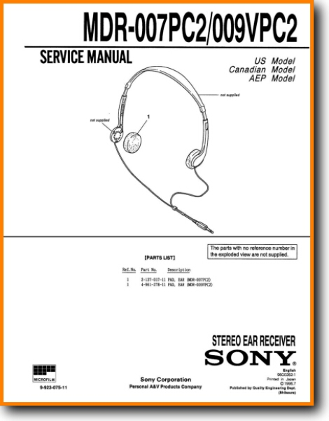 Sony MDR-009-PC-2 Headphones - On Demand PDF Download | English on