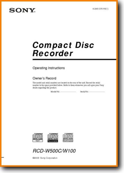 Sony RCDW-500-C CD Player - On Demand PDF Download | English_Addendum