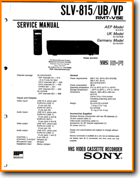 Sony SLV-815 VCR Main Technical Manual - PDF & Tech Help* | English