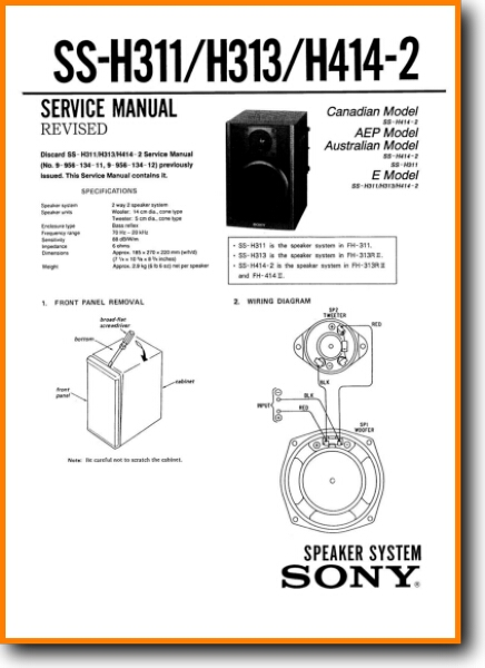 Sony SSH-311 Loudspeaker - On Demand PDF Download | English