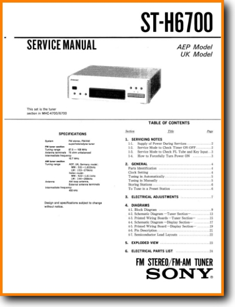 Sony STH-6700 Tuner Addendum - A Technical Manual - PDF & Tech Help* |  English