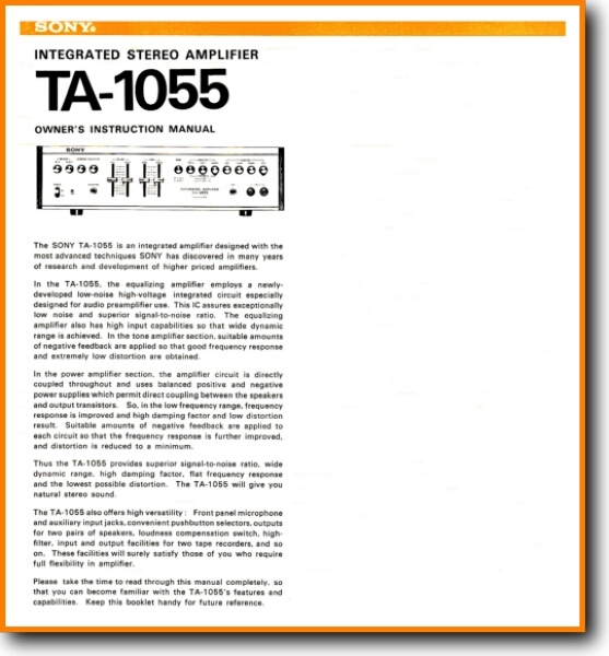 Sony TA-1055 Solid State Amp Receiver - On Demand PDF Download   English