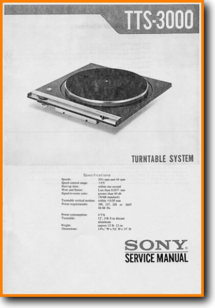 Sony Tts 3000 Turntable Record Player On Demand Pdf