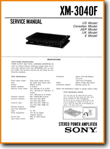 Sony Xm 3040 F Automotive Audio On Demand Pdf Download