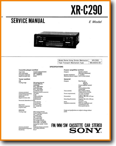 Sony Xrc 290 Automotive Audio Main Technical Manual Pdf Tech Help English