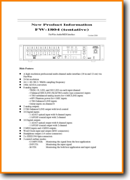 Tascam FW-1804 Amp Receiver Main User Book - PDF & Tech Help* | English