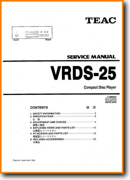 Teac VRDS-25 CD Player - On Demand PDF Download | English