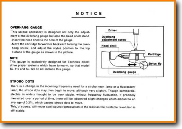 Technics Overhang Gauge Turntable Record Player On