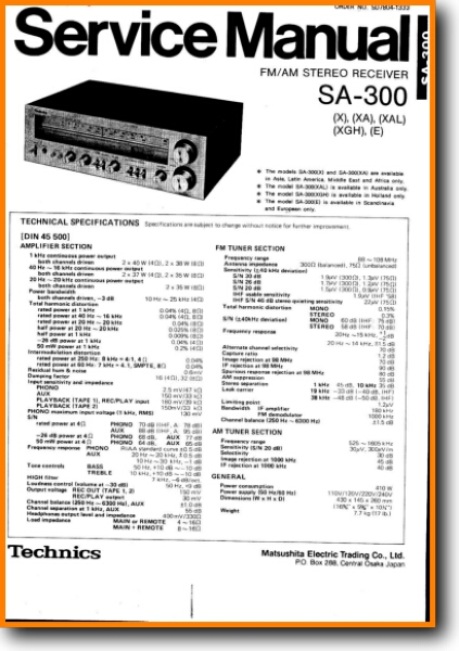 technics sa 300 amp receiver main technical manual pdf \u0026 tech help* english Technics SA 300 Specs