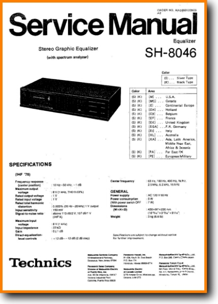 Technics SH-8046 Solid State Amp Receiver - On Demand PDF Download | English