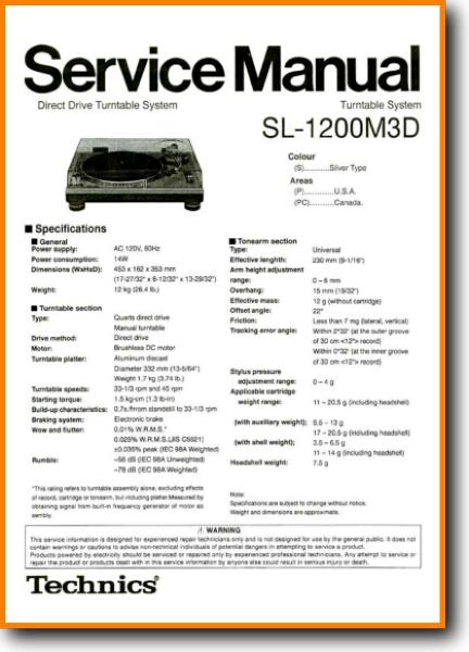 Technics SL-1200-M-3-D Turntable Record Player - On Demand PDF Download |  English_Addendum