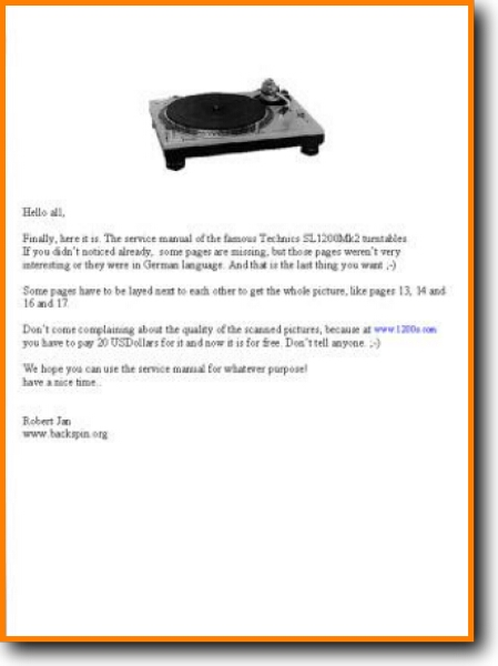 Technics SL-1200-MkII Turntable Record Player Main Technical Manual - PDF &  Tech Help* | English