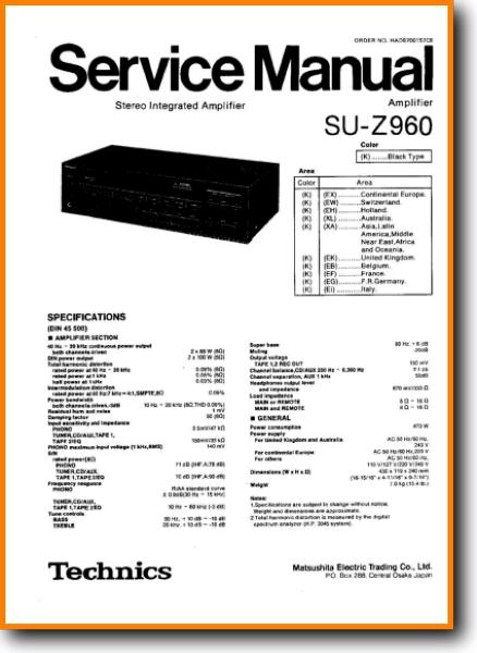 technics suz 960 solid state amp receiver on demand pdf download english Technics Su Z960 Wiring Diagram