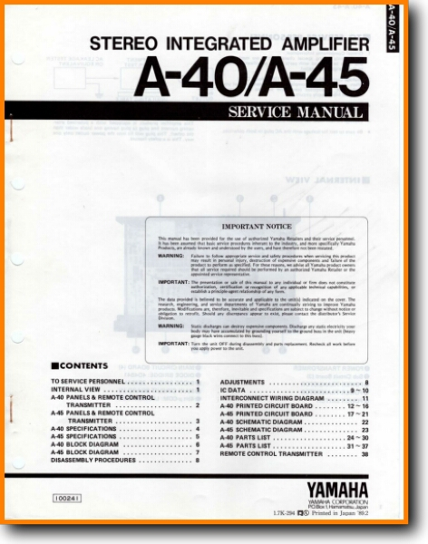 Yamaha A-40 Solid State Amp Receiver - On Demand PDF Download | English
