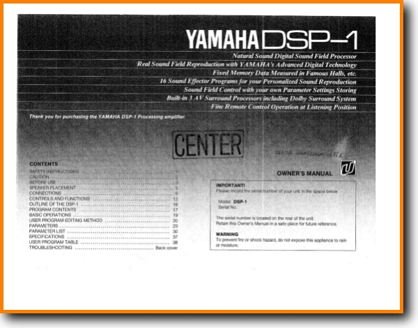 Yamaha DSP-1 Amp Receiver Main User Book - PDF & Tech Help* | English