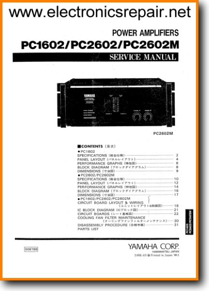Yamaha PC-2602-M Solid State Amp Receiver - On Demand PDF Download | English