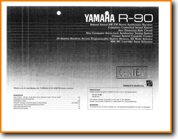 Yamaha R-90 Solid State Amp Receiver - On Demand PDF Download | English