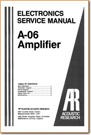 Acoustic Research; AR A-06 Amp Receiver Main Technical Manual - PDF & Tech Help* | English