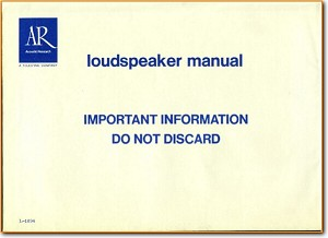 Acoustic Research; AR AR-7 Loudspeaker Main User Book - PDF & Tech Help* | English