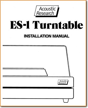 Acoustic Research; AR ES-1 Turntable Record Player Main Installation Guide - PDF & Tech Help* | English