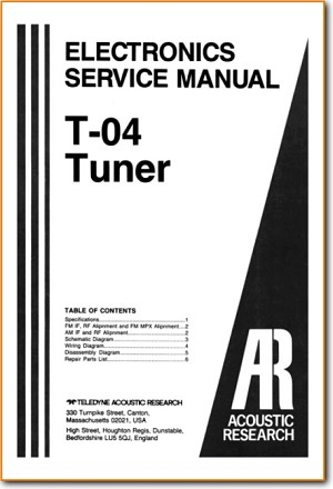 Acoustic Research; AR T-04 Tuner Main Technical Manual - PDF & Tech Help* | English