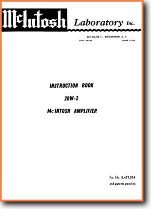 McIntosh 20-W-2 Tube Amplifier Main User Book - PDF & Tech Help* | English