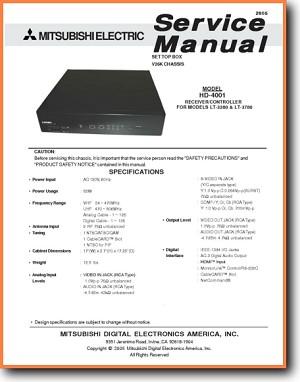 Mitsubishi Audio HD 4001 Amp Receiver Main Technical Manual