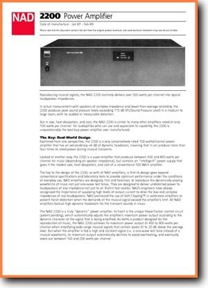 NAD 2200 Amp Receiver Main Brochure - PDF & Tech Help* | English