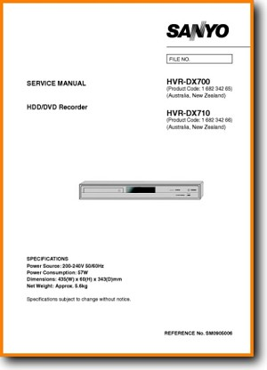 Sanyo HVRDX-700 DVD Player Main Technical Manual - PDF & Tech Help* | English