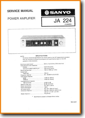 Sanyo JA-224 Amp Receiver Main Technical Manual - PDF & Tech Help* | English
