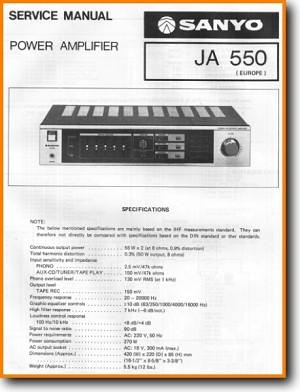Sanyo JA-550 Amp Receiver Main Schematics - PDF & Tech Help* | English