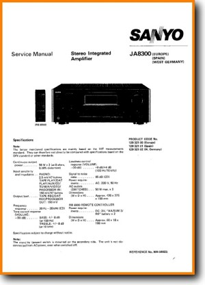Sanyo JA-8300 Amp Receiver Main Technical Manual - PDF & Tech Help* | English