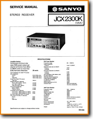 Sanyo JCX-2300-K Amp Receiver Main Technical Manual - PDF & Tech Help* | English