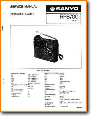 Sanyo RP-8700 Portable Stereo Main Technical Manual - PDF & Tech Help* |  English