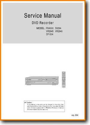 Sanyo RV-4000 DVD Player Main Technical Manual - PDF & Tech Help* | English